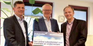 V.l.n.r. Paul van den Berg (Vindsubsidies), wethouder Rob Christenhusz, Vincent Bökkerink (gemeente Enschede)